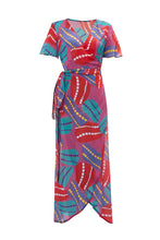 Load image into Gallery viewer, Pink Anemone Curved Wrap Dress