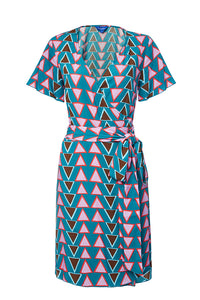 Stacked Triangles Short Wrap Dress