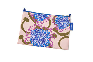 Apricot/Blue Alien Flowers Nylon Makeup Bag