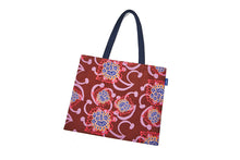 Load image into Gallery viewer, Maroon/Pink Alien Flowers Nylon Tote