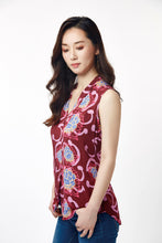 Load image into Gallery viewer, Maroon Pink Alien Flowers Sleeveless Blouse