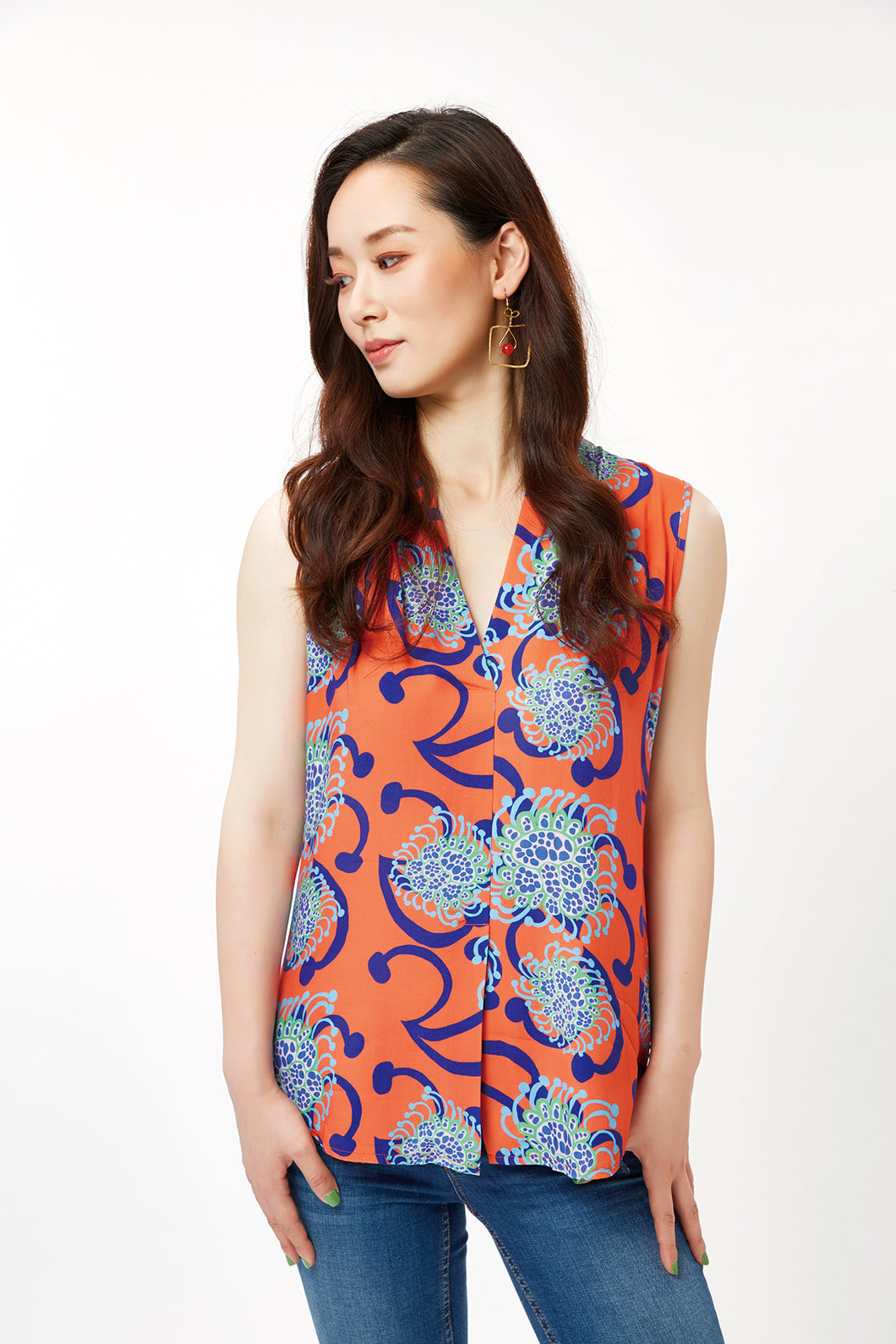 cukimber colorful sleeveless blouse coral blue