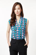 Load image into Gallery viewer, Stacked Triangles Sleeveless Blouse