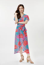 Load image into Gallery viewer, cukimber colorful pink anemone curved wrap dress