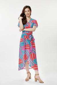 cukimber colorful pink anemone curved wrap dress
