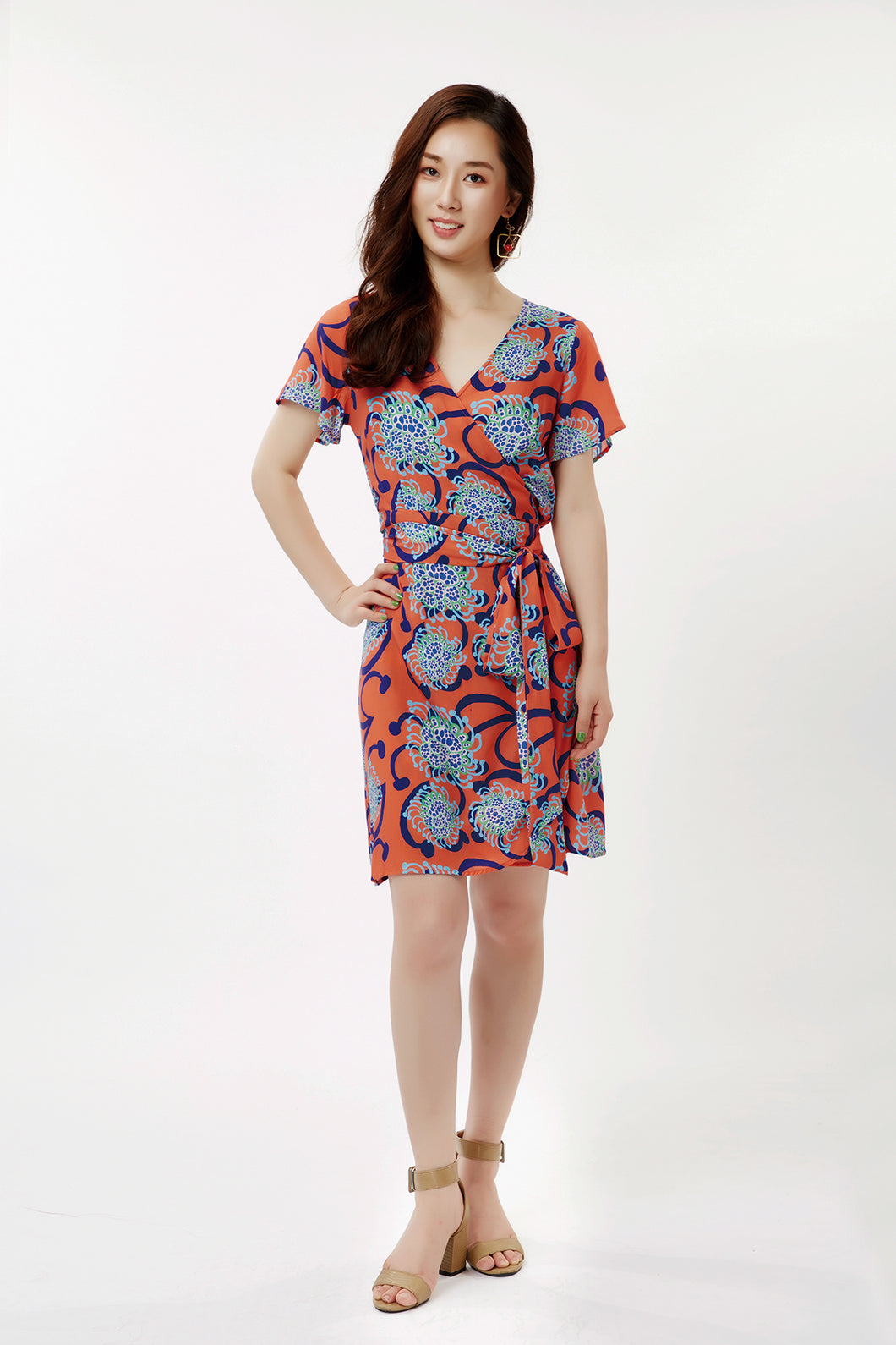 cukimber colorful short wrap dress coral blue