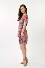 Load image into Gallery viewer, Coral / Blue Alien Flowers Short Wrap Dress