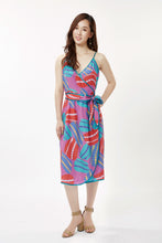 Load image into Gallery viewer, Pink Anemone Spaghetti Wrap Dress