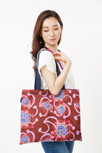 Load image into Gallery viewer, Maroon Pink Alien Flowers Tote cukimber