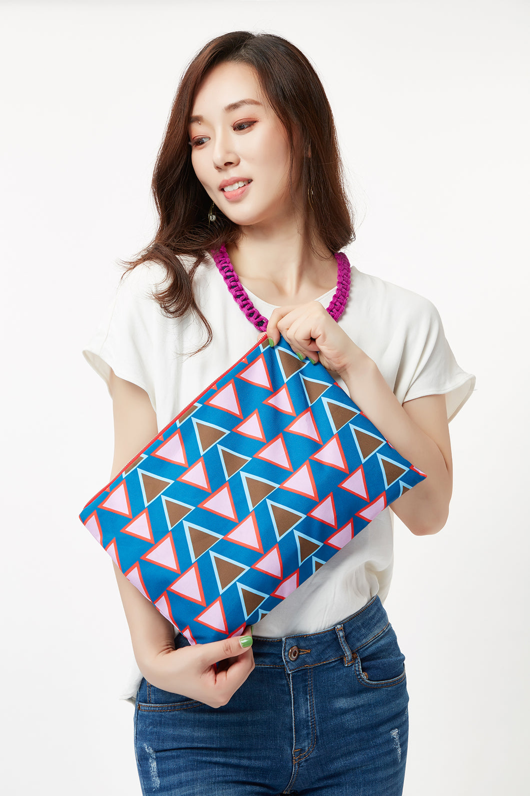 Stacked Triangles Nylon Bag cukimber