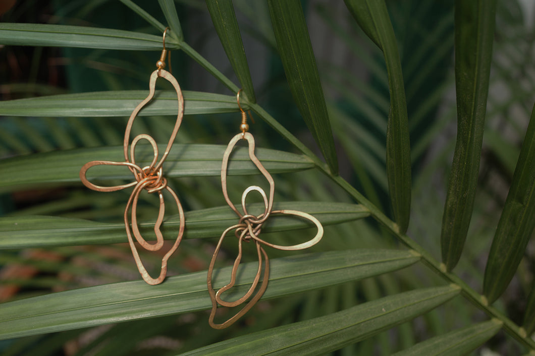 Flower Halves Brass Earrings | cukimber