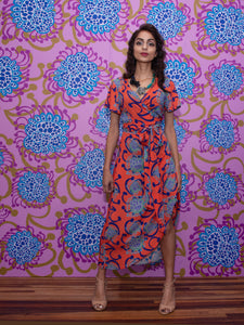 Coral / Blue Alien Flowers Curved Wrap Dress