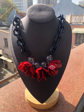 Load image into Gallery viewer, Holiday Baubles Red/Navy Flower Power Necklace