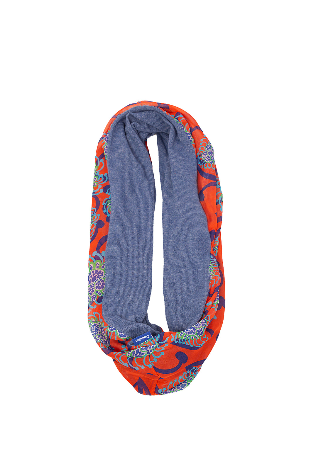 Red Alien Flowers / Cornflower Blue Infinity Scarf
