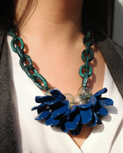 Load image into Gallery viewer, Holiday Baubles Navy/Green Flower Power Necklace