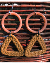 Load image into Gallery viewer, Basketcase Earrings in Peach/Tan