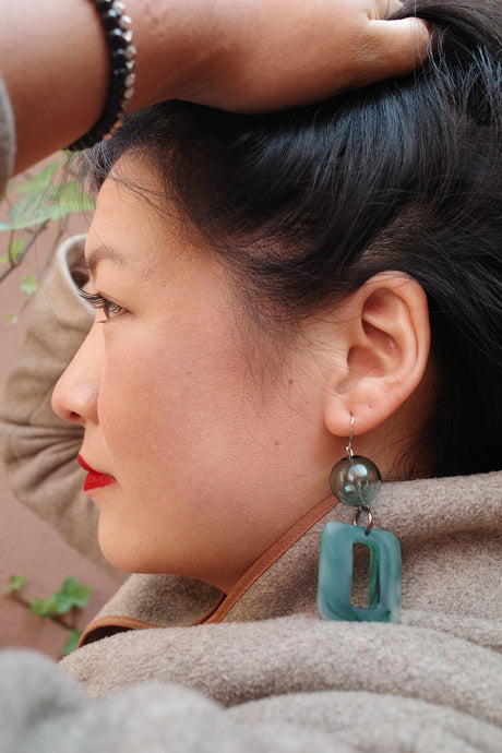 Mami Earrings in Jade Green