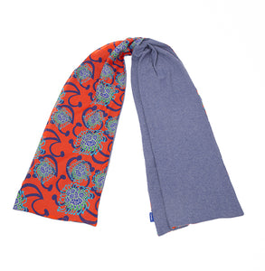 Red Alien Flowers / Cornflower Blue Scarf