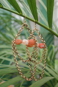 Rose Stone Chain Earrings | cukimber