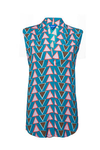 Stacked Triangles Sleeveless Blouse