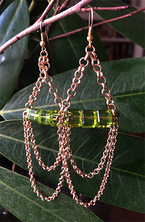 Green Chain Earrings | cukimber