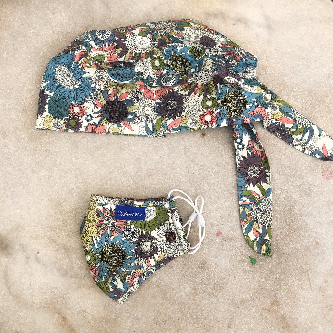 Flower Power Surgical Hat & Mask Set