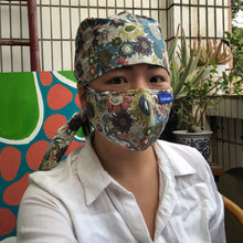 Load image into Gallery viewer, Flower Power Surgical Hat & Mask Set