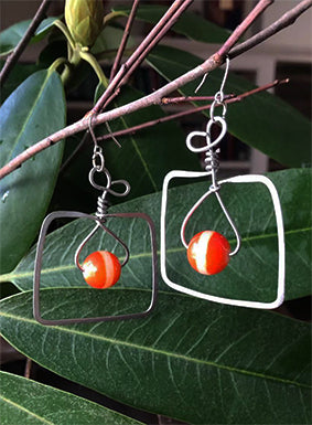 Square Nickel Orange Bead Earrings | cukimber