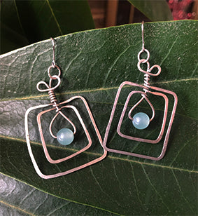Square NIckel Light Blue Bead Earrings | cukimber