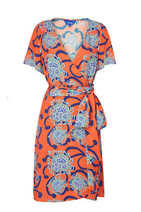 Coral / Blue Alien Flowers Short Wrap Dress