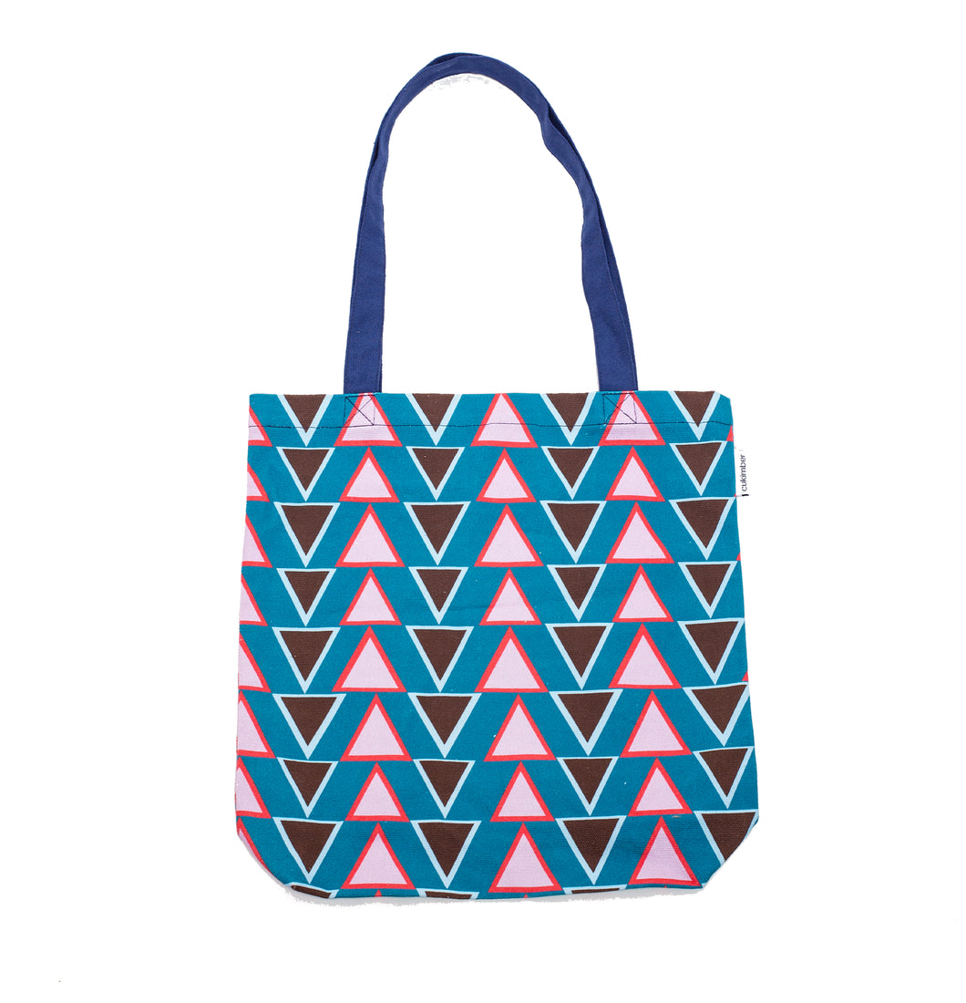 Stacked Triangles Canvas Tote