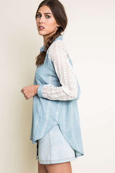 Chambray & Lace Top