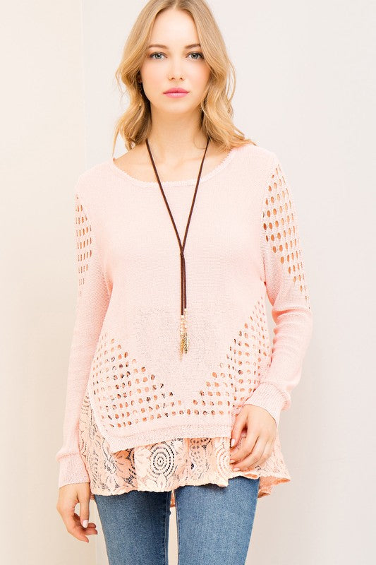 Eyelet & Lace Layered Top