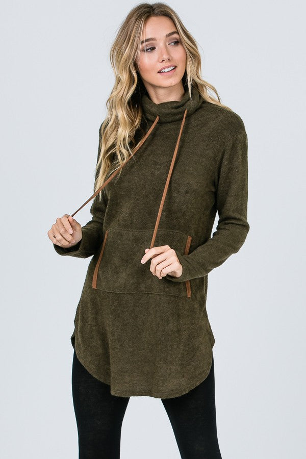Olive Cowl Neck Tunic