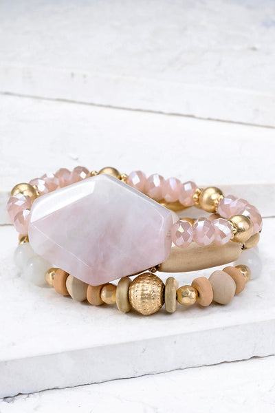 Natural Stone Stacked Bracelet