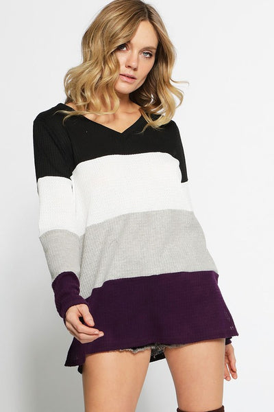 Colorblock Thermal Knit Top