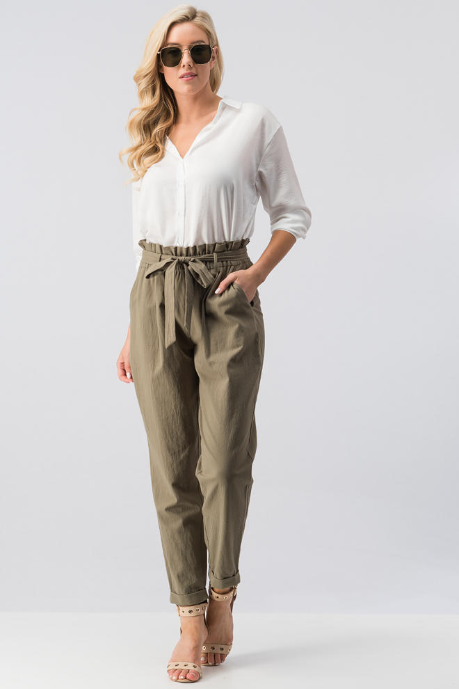 Folded Pegged Pants with Tie