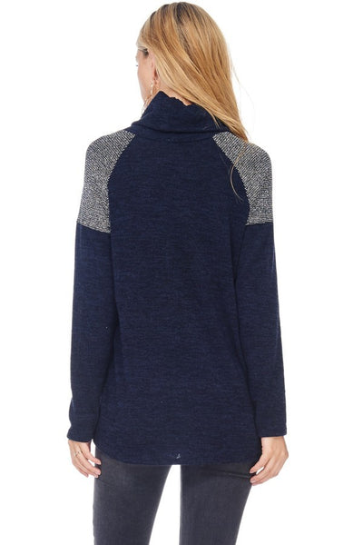 Navy and Silver Cowl Neck Sweater