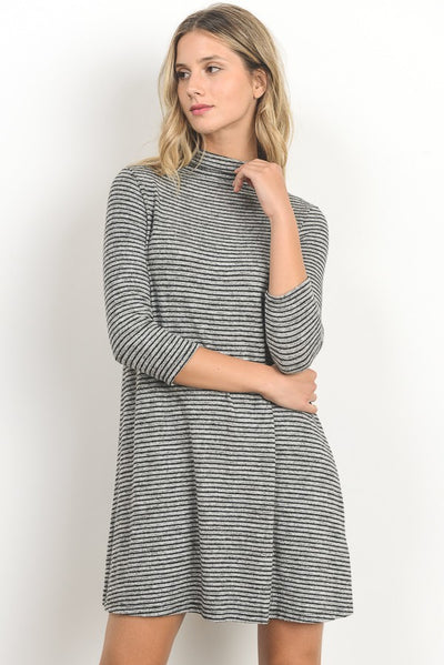 Striped Turtleneck Dress