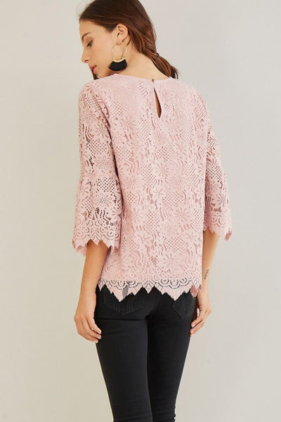 Dusty Rose Floral Lace Top