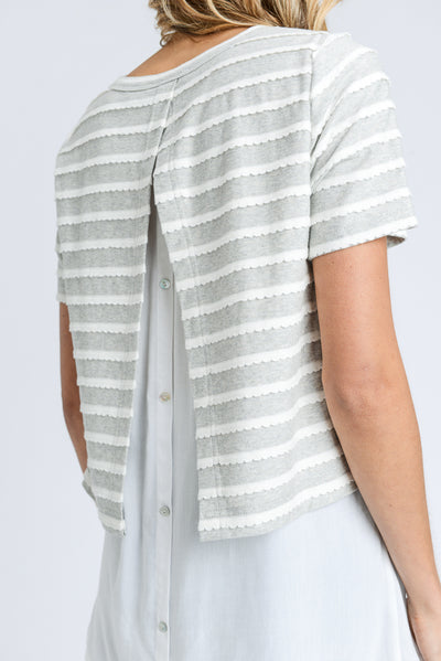 Layered Button-Back Top