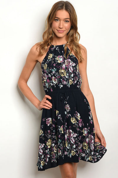 Rose Print Halter Dress