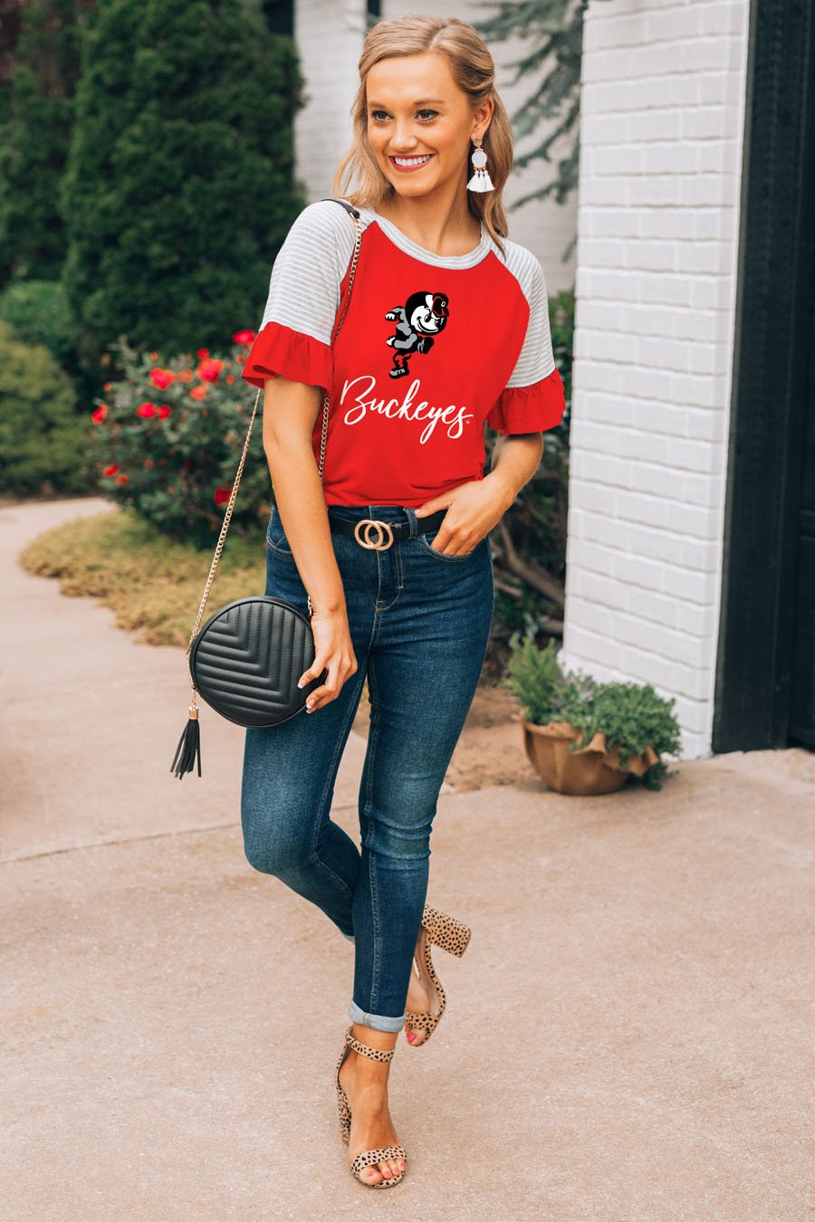 Buckeyes Down The Line Ruffle Sleeve Top