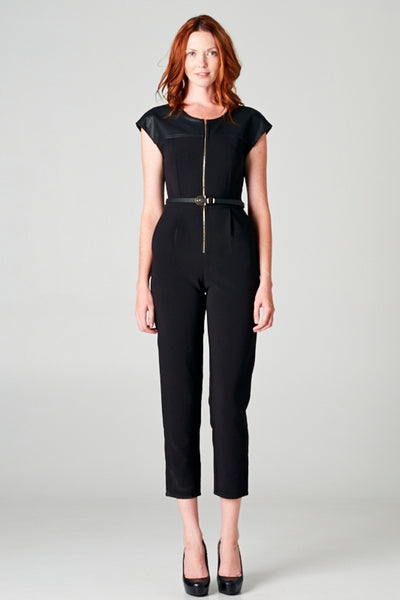 Leather Sleeve Jumpsuit
