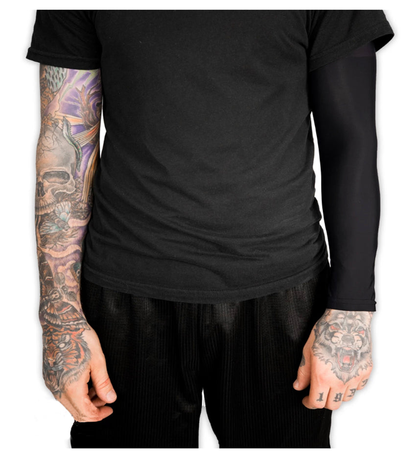 Black Tattoo Cover Compression Arm Sleeve
