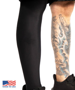 Black Tattoo Cover Full Leg Sleeve