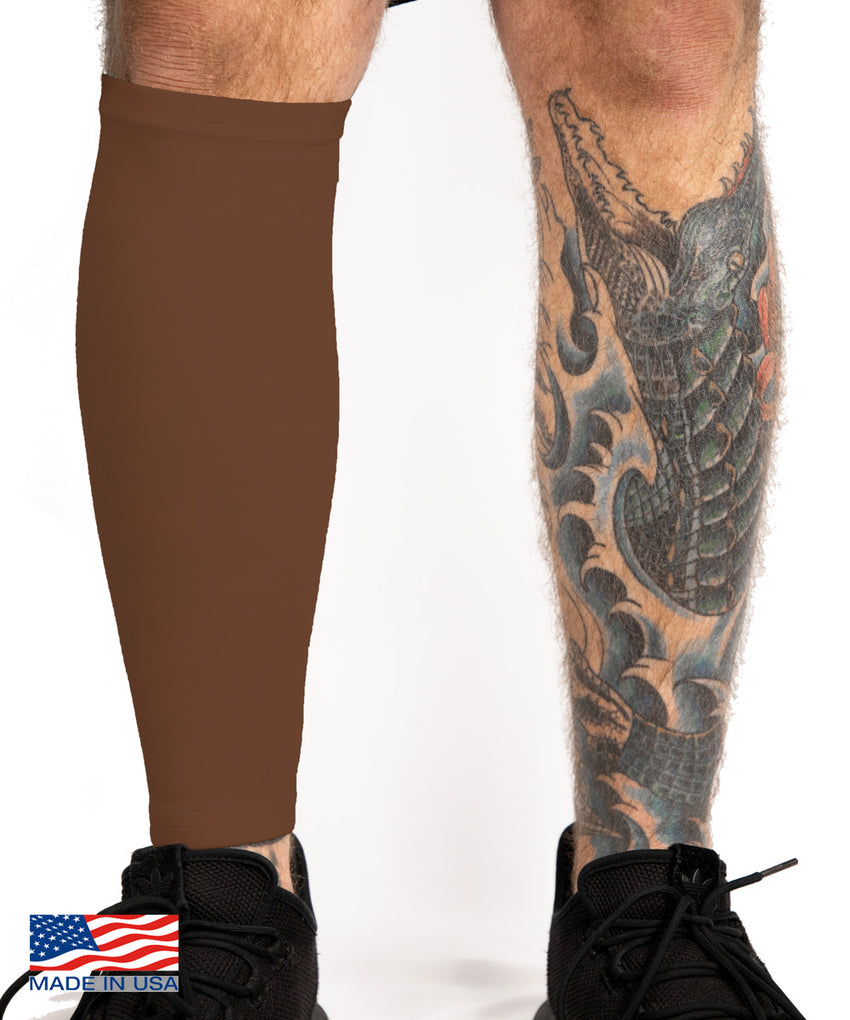 Chocolate Brown Tattoo Cover Calf Sleeve