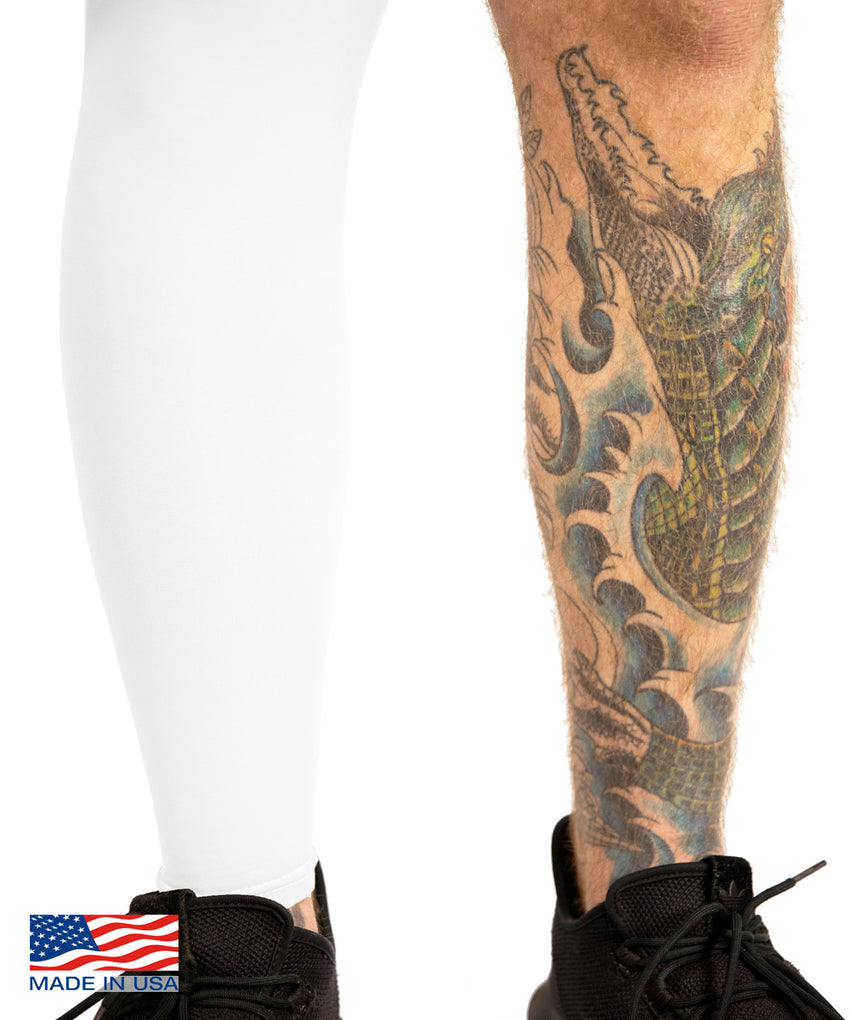 White Tattoo Cover Full leg Sleeve