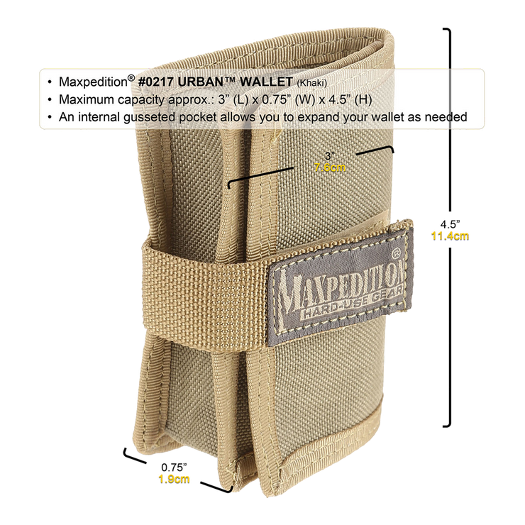 Maxpedition Urban Wallet (Khaki) - Expanded View