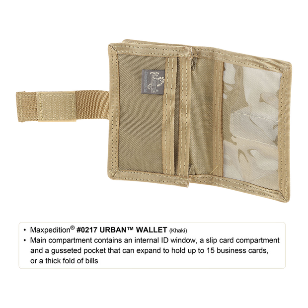 Maxpedition Urban Wallet (Khaki) - ID Window